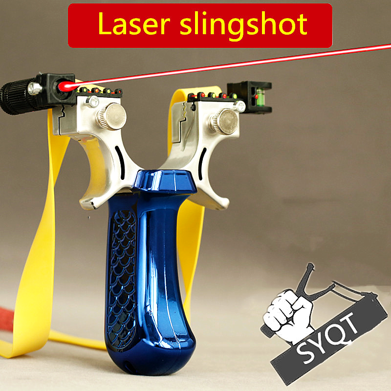 SYQT Outdoor Sports Toy Slingshot Four Colors Can  Selected With Laser Aiming Hunting Slingshot Toy Using Flat Leather Shooting