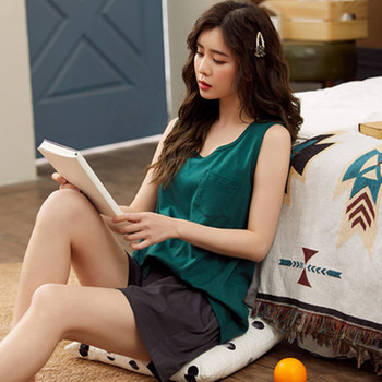 New Vest pajamas womens summer cotton sleeveless shorts two piece set solid color thin girl home clothes fat mm large