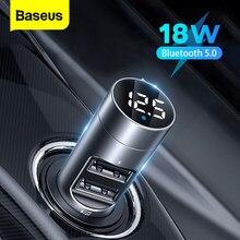 Baseus FM Transmitter Power Adapter Bluetooth for Car Receiver 18W Radio Kit MP3 Player USB Aux Handsfree Wireless FM Modulator
