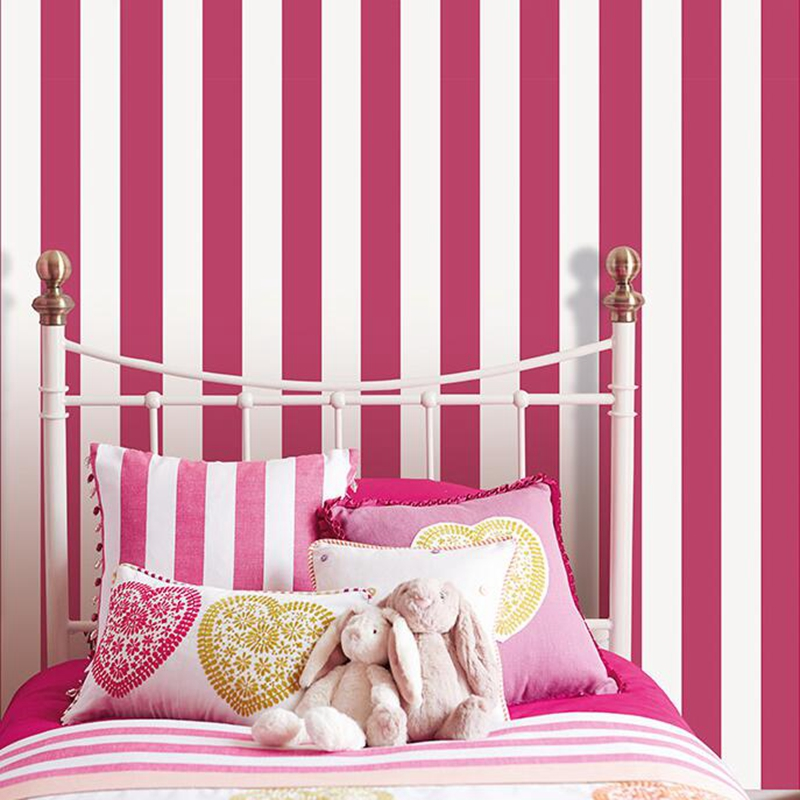 Simple Vertical Stripes Wallpapers Blue And White Classic Wall Paper Pink And White PVC Bedroom Home Decoration