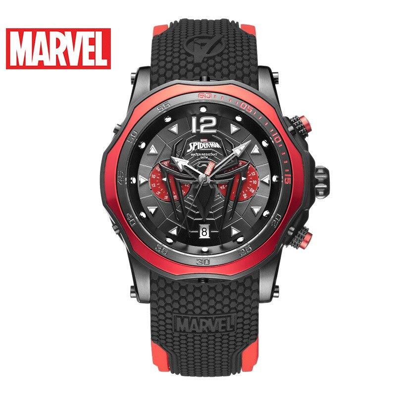 Disney Marvel Men's Watch Spider-Man Waterproof Quartz Watch Casual Multifunctional Men's Watch Men Gift 5Bar Sport