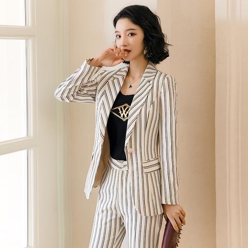 Hot Female Office Work Formal Stripe Long Pant Suits Women's Suit Lady Uniform 2 Piece Set Blazer Trouser Jacket Suits Plus Size