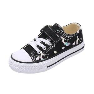 Image 2 - 2020 אופנה לפעוטות ילדים Unicorn בד סניקרס קשת גופר נעלי פוני פעוט נעלי ילדים גדולים נעלי בנות שטוח הנעלה
