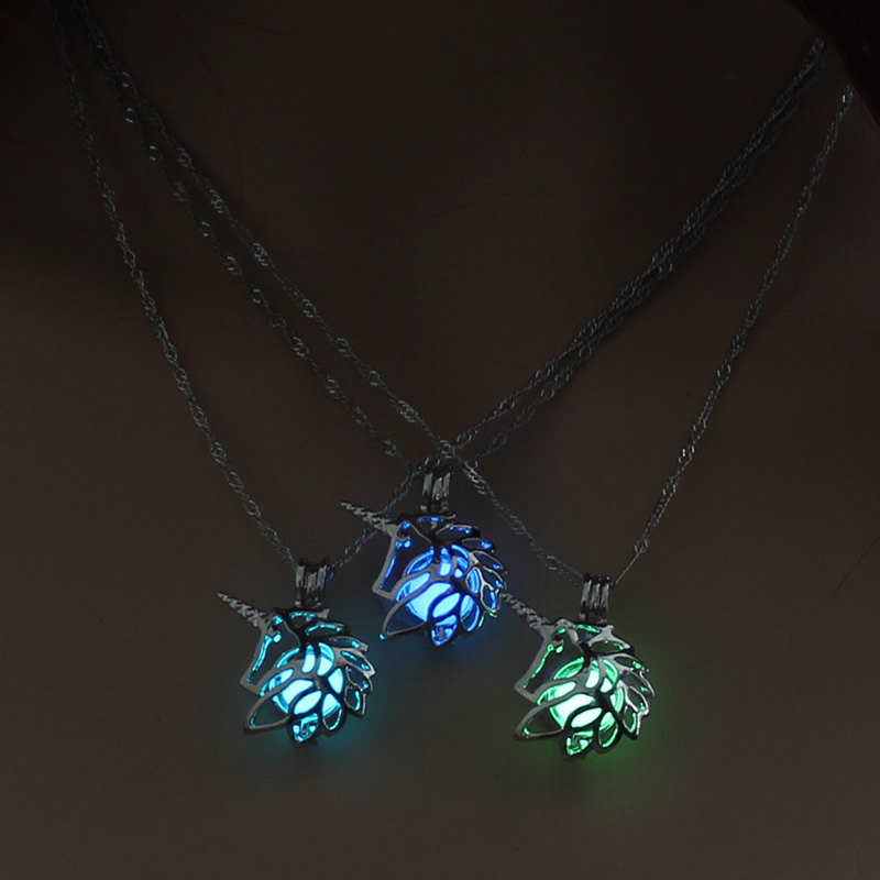 H043a01c3267e49c48a536f019722dff90 - 3 Colors Glowing In The Dark Lotus Flower Shaped Pendant Necklace Charm Chain Delicacy Necklace Luminous Party Jewelry Women