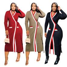 Однотонное трикотажное пальто в полоску с длинным рукавом и
