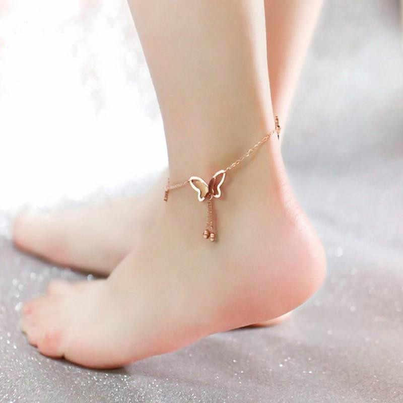 Oumart ロマンチックな韓国ファッション女性チャームローズゴールド色の蝶のアンクレット宝飾足ブレスレット女性の足のジュエリー