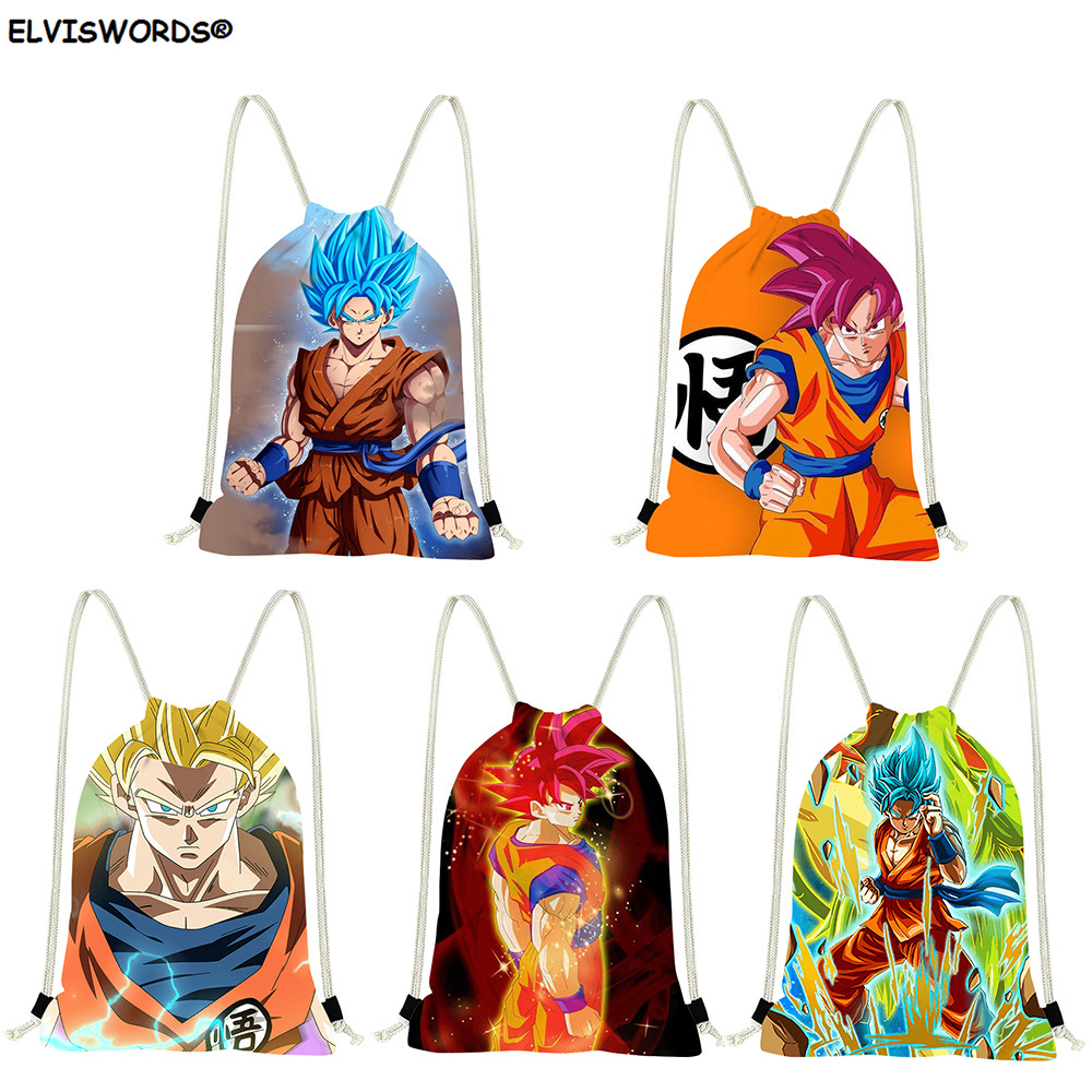 ELVISWORDS Son Goku Printed Shool Drawstring Shoes Bag Dragon Ball Bag Gift For Teenage Football Storage Bag Customize Logo Sack