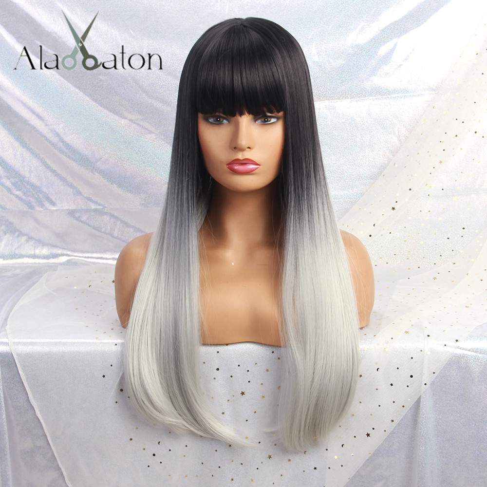 ALAN EATON Long Synthetic Wig With Bangs Black White Ombre Color High Density Natural Headline Heat Resistant Hair Wigs Women
