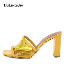 Yellow Clear Heels Womens 2020 High Heel Mules Chunky Heel Sandals Heeled Slides Slippers Ladies Square Toe Transparent Shoes clear panel two part heeled sandals