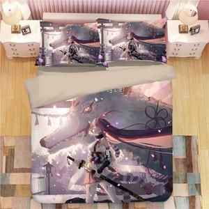 Yae Sakura bed linen Cartoon anime Duvet Covers Pillowcases kids Anime Comforter Bedding Sets bed linens bedclothes bed set(China)