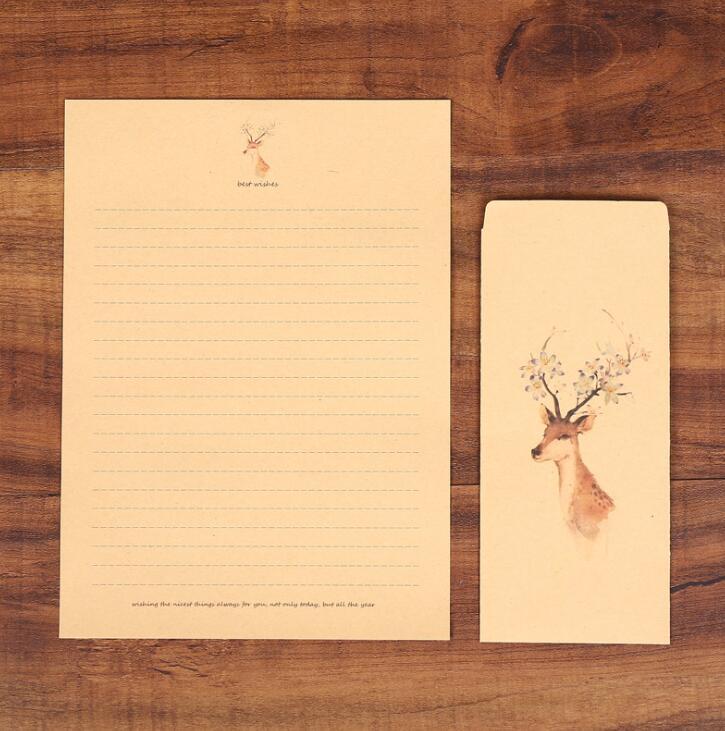 XRHYY 6 шт., винтажная бумага для письма с оленем и конвертами, ретро набор, крафт-бумага для письма, винтажный набор бумаги с буквами - Цвет: Set3
