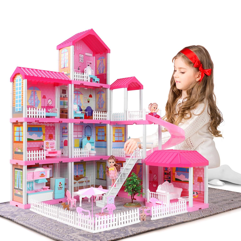 Doll House Miniature Furniture Diy Kit Children's House Model Building Home Decoration Dolls Toys for Girls Children Gifts