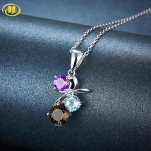 Hutang 925 Fine Jewelry Natural Multi Gemstone  Solid s925 Sterling Silver  Pendant  For Woman, Amethyst Necklace For Daily Wear hutang stone jewelry natural green turquoise blue topaz pendant solid 925 sterling silver necklace fine jewelry for women gift