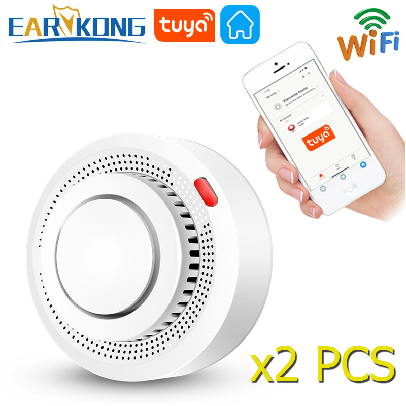Tuya WiFi Smoke Alarm Fire Protection Smoke Detector Smokehouse Combination Fire Alarm Home Security System Firefighters