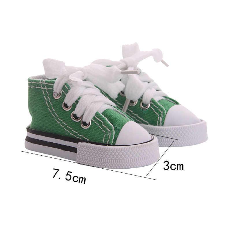 Zapatos de muñeca de 7,5 Cm, 8 colores, zapatos de lona a la moda, juguetes de peluche, accesorios de ropa para muñeca, regalo de cumpleaños de nuestra generación de Navidad para niña
