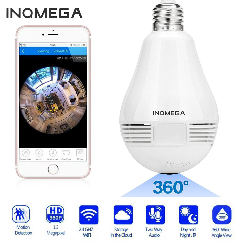 INQMEGA 960P Panoramic 360 Degree Bulb Wireless Camera Wifi Fisheye Lens HD Light Camera Indoor Home Security Camera