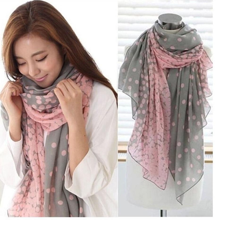 New 1 Pcs Fashion Women Soft Cotton Lady Comfortable Long Neck Large Scarf Shawl Voile Stole Dot Warm Scarves Gift 6 Patterns