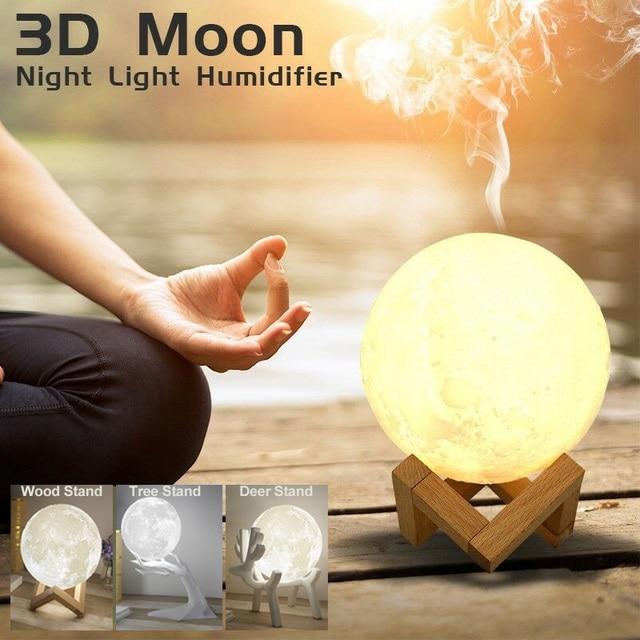 ขนาดใหญ่ 880Ml Air Humidifier Aroma Essential Oil Aroma DiffuserสำหรับHome 3d Led Moon Light USB Aromatherapy Diffuser Dropเรือ