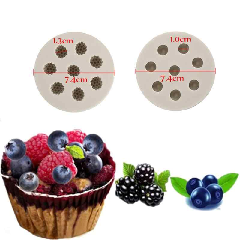 3D Raspberry Blueberry Bentuk Silikon Cetakan Kue Sugarcraft Alat Dekorasi Kue Cetakan Kue Alat Chocolate Pastry Alat