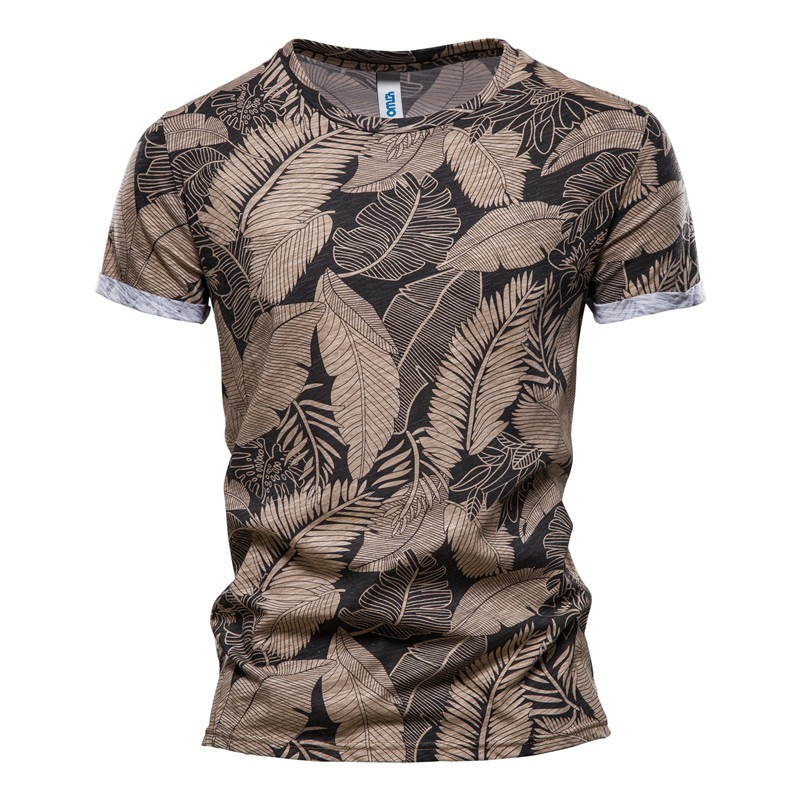AIOPESON 2021 New Summer Leaf Printed T Shirts Men O-neck 100% Cotton Short-sleeved Men's T-Shirt Summer Male Tops Tee Shirts