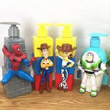 350ML juguete Disney historia Woody Buzz Lightyear Jessie creativo Kawaii botella de champú botella de ABS figura de acción de juguete de modelos coleccionables