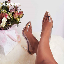 Aneikeh 2020 New Women Pumps PVC Transparent High Heels Sexy Pointed Toe Leopard Grain Party Shoes Lady Thin Heels Pumps Size 42