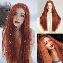 Eewigs peruca de cabelo sintético, #350 peruca de cabelo laranja vermelho, longo, resistente ao calor, sem cola, reta, com renda, para preto mulheres