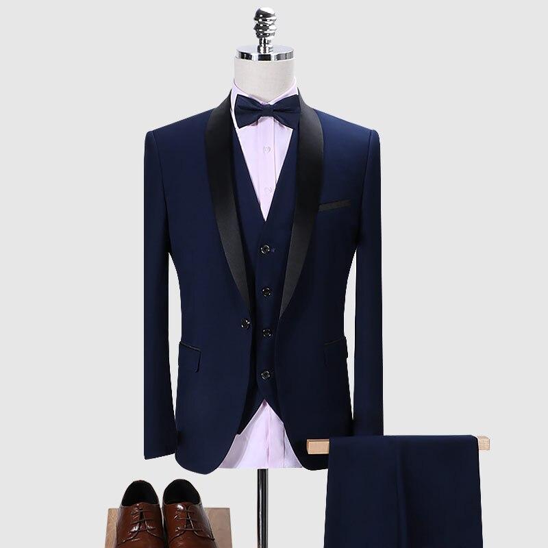 Traje de marca para hombre 2020 trajes de boda ajustados para hombre cuello chal 3 piezas traje Borgoña para hombre azul marino esmoquin chaqueta 5XL 6XL Q168 - 2