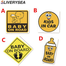 SLIVERYSEA Car Sticker Lovely Cartoon BABY ON BOARD and IN CAR Colored Graphic Decoration
