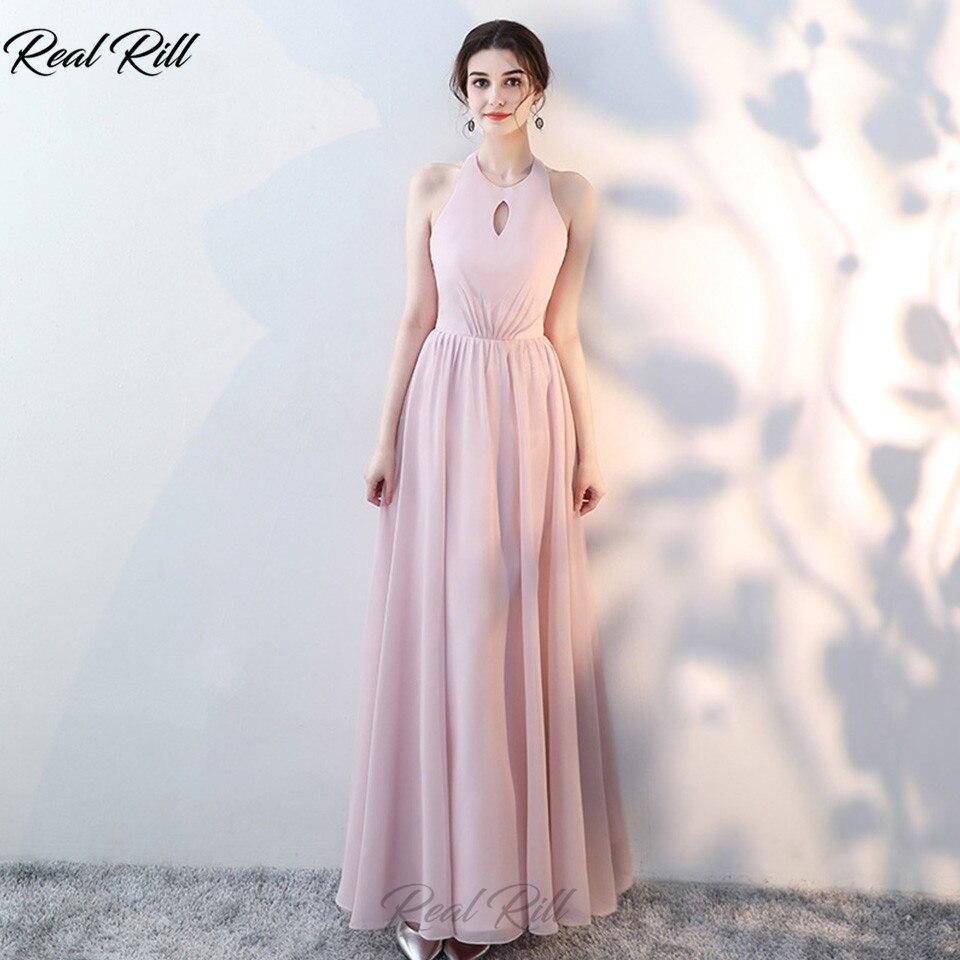 RealRill Halter Bridesmaid Dress Lace Up Back Floor Length A-Line Chiffon Wedding Guest Dress For Weddin Party Vestidos De Festa