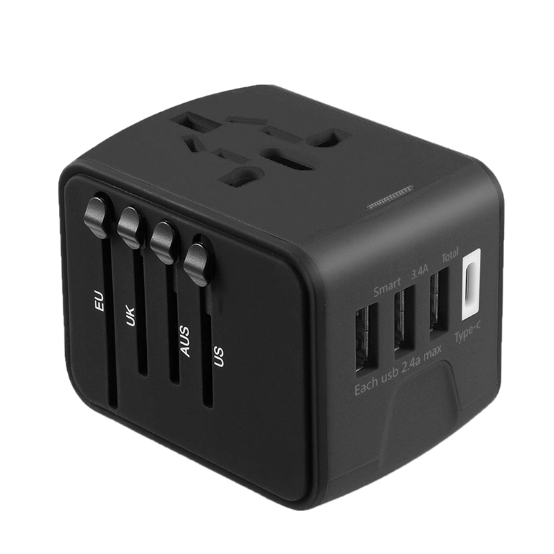 Travel Adapter, International Adapter Worldwide,Uk/Us/Eu Power Worldwide Electrical Plug With 3 Usb & Us