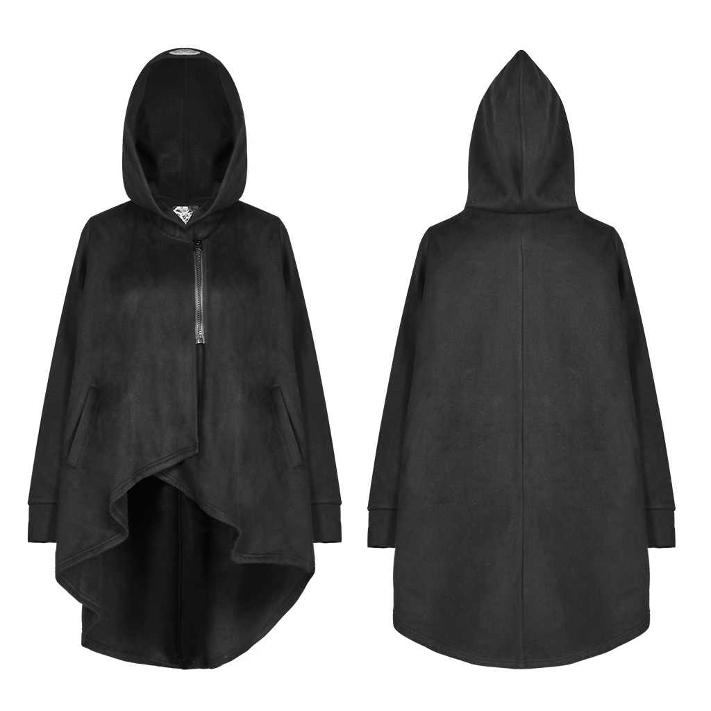Женский плащ-накидка в стиле панк с принтом «Затмение», теплая Свободная куртка с асимметричным подолом, пальто с капюшоном