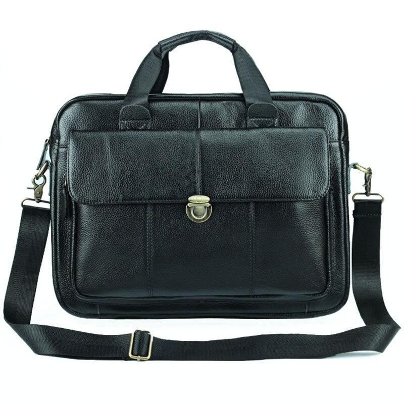 Nesitu New Black Genuine Leather 14'' Laptop Office Men Briefcase Portfolio Handbag Business Shoulder Messenger Bags M004