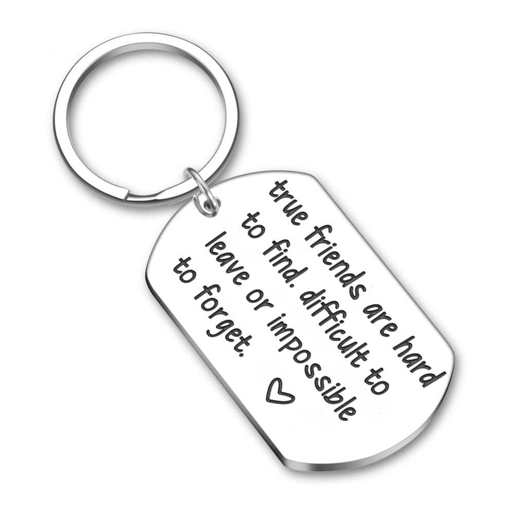 Friendship Keychain Key Ring Gifts for Best Friends Women Men Birthday Sisters Brothers Key Chain True Friends Are Hard To Find image