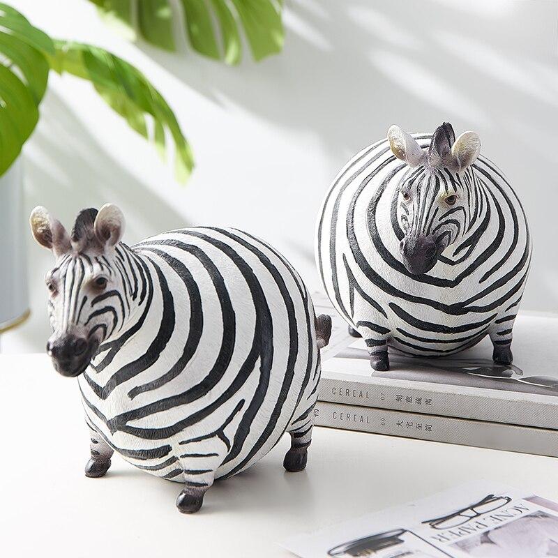 Nordic ins zebra gordura resina animais estatuetas ornamentos modelo animal mesa decoração para casa acessórios decoração do quarto moderno