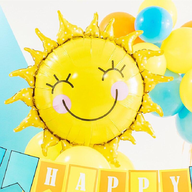 1 pçs grande sol arco-íris bolas de ar balão folha hélio nuvem hawaii chuveiro do bebê aniversário decorações festa casamento suprimentos globos