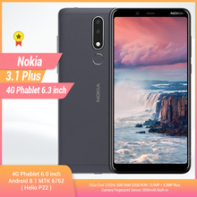 Original Nokia 3,1 Plus 4G Smartphone 6,0 Android 8.1 MTK 6762 Octa Core 3 + 32GB ROM 13.0MP + 5.0MP Hinten Kameras Handy