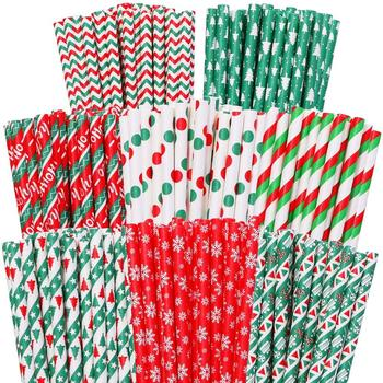 Fastest Delivery 1000 pcs Pick Colors Christmas Paper Straws Bulk,Green Red Gold Silver Foil,New Year Holiday Party Restaurant