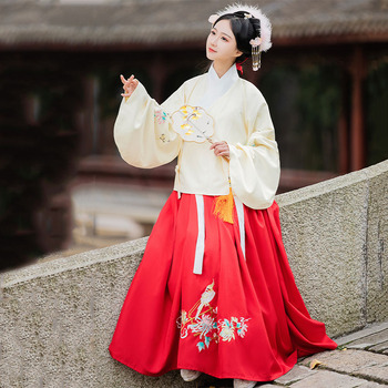Hanfu Women Traditional Dance Costumes Embroidery Fairy Dress Folk Festival Outfit Singer Stage Rave Performance Clothing DC4070