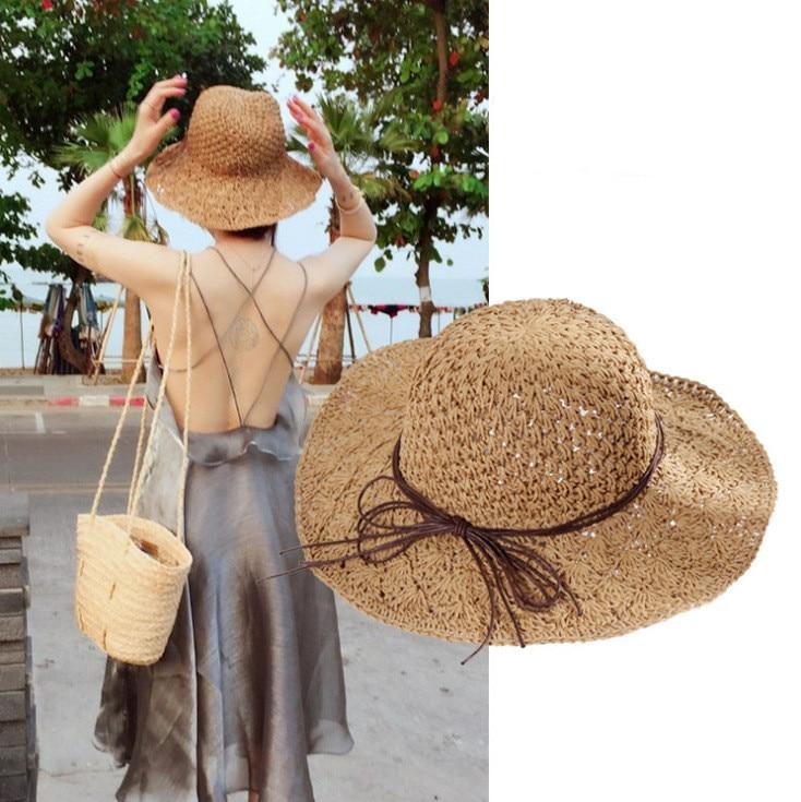 2020 Summer Fashion Women Straw Hat Lady Summer Sun Hat Visor Cap Panama Style Bucket Cap Strawhat Beach Hat Outdoor Girl Cap