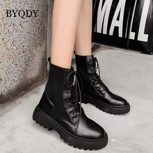BYQDY Luxury Brand Boots Women Buckle Winter Motorcycle Round Toe Ankle Gothic Chunky Heels Lace-up booties