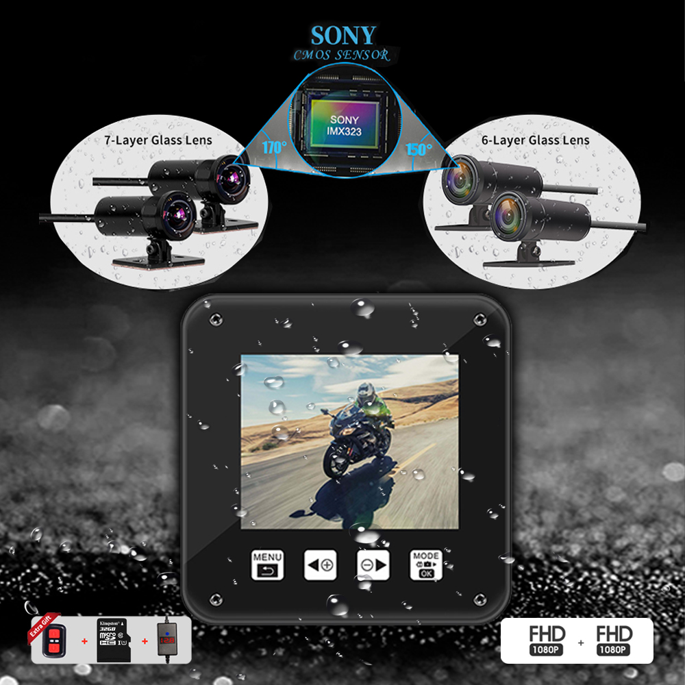 Full HD dual 1080P 170 degree large wide angle motorcycle action DVR vsys official X2 camcorder