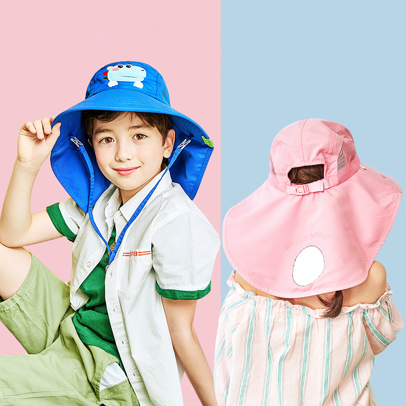 Summer Children Sun Hat Kids Outdoor Neck Ear Cover Anti UV Protection Beach Caps Kids Boy Girl Travel Flap Cap For 1-19 Years