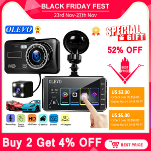 Olevo 4'' Video Recorder Car DVR Dash Cam Rear View Dual Camera 1080P Dashcam Camera IPS Touch Screen G-Sensor WDR Car DVR