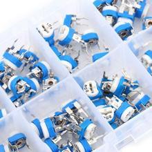 100X 10 value Resistors Variable Potentiometer Assortment Kit+Box-500ohm.