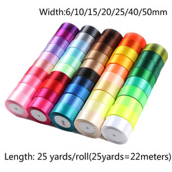 25 Yards 6/10/15/ 20/25/40/50mm Satin Ribbons DIY Artificial Silk Roses Crafts Supplies Sewing Accessories Scrapbooking Material