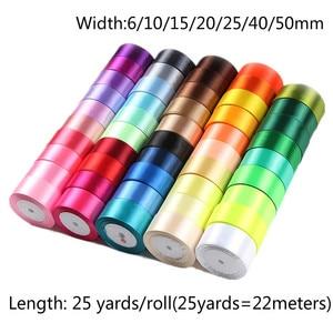 Fitas de cetim artificiais, 25 jardas 6/10/15/ 20/25/40/50mm, faça você mesmo materiais de artesanato de rosas de seda, acessórios de costura, material de scrapbooking