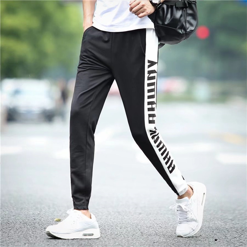 Thin Type For Spring And Autumn Sports Ninth Pants Men'S Wear Teenager Casual Pants Summer Students Loose-Fit Slimming Closing F