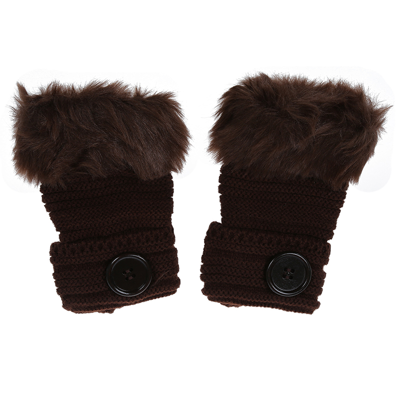 Women Winter Fashion Faux Rabbit Fur Girl Warm Wrist Fingerless Gloves Mittens Coffee