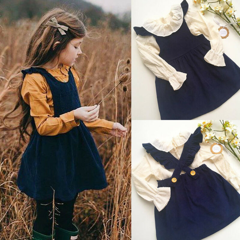2020 Spring Kids Baby Girl Clothes Solid Fly Sleeve Princess Party Dress Outfits Children's Clothes Girls Lovely Costumes